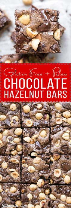 These Chocolate Hazelnut Bars have a hazelnut flour crust and are topped with dark chocolate chunks + crunchy hazelnuts. These gluten-free, Paleo + refined sugar free bars get even fudgier the day after they're made!