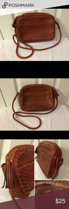 Talbots Brown Tan Cross Body Purse Woven Leather Talbots Brown Tan Cross Body Purse Woven Leather with tassel detail and inside zipper pocket Talbots Bags Crossbody Bags