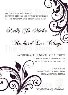 Custom Wedding Invitation designed by The UPS Store CliveWaukee