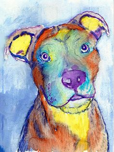 American Staffy colorful Dog Painting,American staffy dog Print ,watercolor American Staffie owner gift, Staffordshire… #dogs #etsy #art