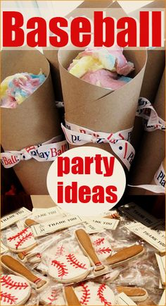 Baseball Party. Out of the Park party ideas for a little sports nut. Fan-tastic ideas for a boy or girl baseball party. Creative party decor, baseball concessions and party favors.