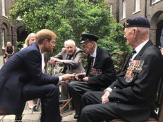 Eager student: The 32-year-old royal sat forward on his chair as he quizzed the old soldie...