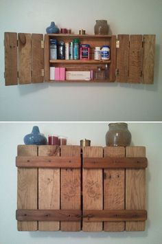 Awesome DIY Pallet Shelves Ideas for Home Pallet kitchen furniture storage wall shelf ideas. - Type Of Kitchen Storage Pallet Storage, Pallet Shelves, Book Storage, Storage Shelves, Storage Ideas, Kitchen Furniture, Diy Furniture, Furniture Storage, House Furniture