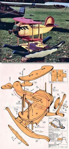 Rocking Airplane Plans - Children's Woodworking Plans and Projects | WoodArchivist.com #woodworkingideas