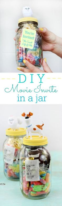 DIY Movie Invite In a Jar. Make movies even more special by inviting your guest with a jar filled with movie goodies and their ticket. #PetCrafts AD