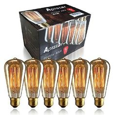 NEW Edison Vintage Bulbs - 6 pack - Aplstar Bulbs - 60W Incandescent - Clear Glass - ST64 Squirrel Cage - Dimmable - - Amazon.com