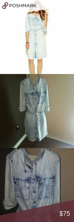 JUST IN MICHAEL KORS DRESS Adorable Michael kors bleached chambray buttondown dress in perfect condition! Worn only 2x and each time no more than a couple of hrs. Buttons are an antique gold color and accent the dress beautifully. Drawstring waist helps to create a looser look with the dress or a more fitted look if preferred. Nice lightweight and perfect for hot summer days. NO TRADES MICHAEL Michael Kors Dresses
