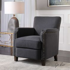 Uttermost Finchly Deep Gray Armchair