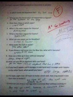 Humor Discover Funny Test Answers from Smart Ass Kids: Borderline Genius - Humor Funny Test Answers Funny School Answers Kids Test Answers Riddles With Answers Clever Yahoo Answers Funny Laughing So Hard Kids Laughing Just For Laughs Funny Texts Funny Test Answers, Riddles With Answers Clever, Kids Test Answers, Funny School Answers, All Meme, School Humor, School Stuff, Funny School Jokes, Just For Laughs