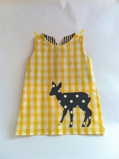 Yellow+Deer+Check+A+Line+Dress+by+TreefallDesign+on+Etsy,+$38.00
