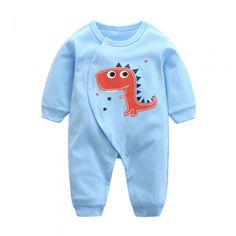 Cotton Cartoon Dinosaur Infant Toddler Baby Boy Romper Long Sleeve 3-18Months Plain Blue