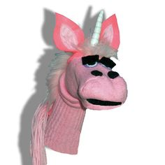 Handmade Pink Unicorn Sock Puppet by SockHollow on Etsy