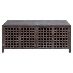 Asian-style wood media cabinet in antiqued brown with four open lattice doors.    Product: Media standConstruction...