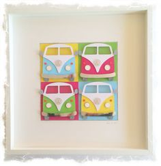 VW Camper Van / VW Bus Collage / 3D papercut Picture - Large Shadow box frame