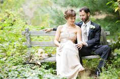This bride & groom look SO serene ;)  Love her gown!