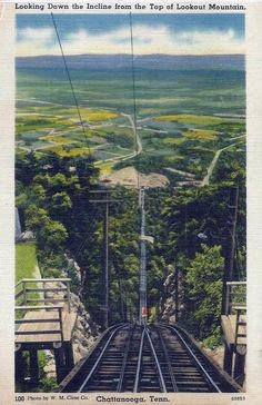 Vintage postcard depicting the inclined railway in Lookout Mountain, outside Chattanooga, Tenn.