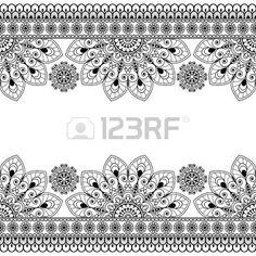 Nahtlose Indian Mehndi Muster mit floralen Grenze Elemente für Karte und Tätowierung auf weißem Hintergrund. Vektor-Illustration photo