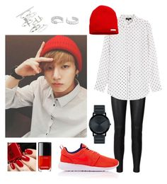 Casual-Look (Jungkook Style) by parkjiminie on Polyvore featuring moda, Theory, NIKE, Topshop, Movado and Neff Korean Fashion Kpop Bts, Korean Girl Fashion, Kpop Fashion Outfits, Teen Fashion, Fashion Ideas, Style Casual, Casual Looks, Cowgirl Style Outfits, Bts Inspired Outfits