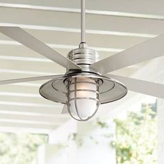 """$460. E11 base and maybe room for conversion to E26 base.  54"""" Minka Aire Rainman Brushed Nickel Ceiling Fan"""