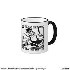Police Officer Outside Biker Inside women left mug