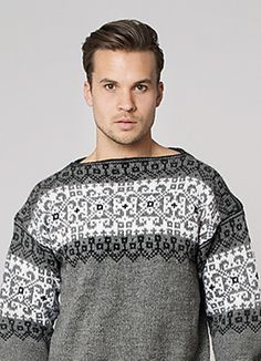 """Ravelry: Nr 4 """"Håkon"""" genser pattern by Sandnes Design Hand Knitted Sweaters, Knit Mittens, Hand Knitting, Knitting Patterns, Norwegian Knitting, Ikon, Color Combinations, Men Sweater, Thing 1"""