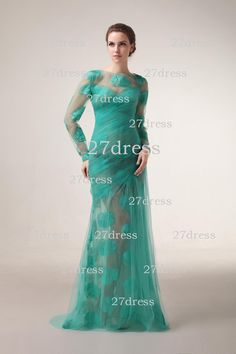 Wholesale 2013 Best Selling Sheath Bateau Long Sleeves Zipper Back Floor Length Tulles Evening Dresses DH4545 (get one free crown), Free shipping, $127.62/Piece   DHgate Mobile