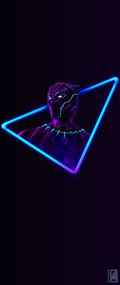 I Upscaled the Neon Black Panther artwork for phone wallpapers (18:9); Artwork by Aniket Jatav