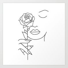 Illustration about Woman face with rose flower. Continuous line drawing. Illustration of drawn, elegant, character - 142574958 Illustration about Woman face with rose flower. Continuous line drawing. Illustration of drawn, elegant, character - 142574958 Pencil Art Drawings, Art Drawings Sketches, Easy Drawings, Rose Line Art, Rose Art, Art Abstrait Ligne, Art Minimaliste, Face Line Drawing, Minimal Art