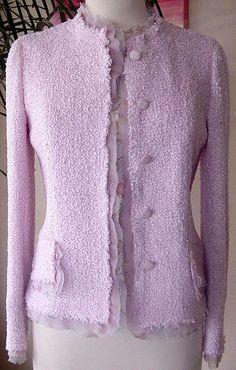 Bubble Gum Pink Boucle Chiffon Jacket