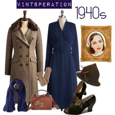 A fashion look from November 2013 featuring long sleeve dress, brown jacket and witch halloween costume. Browse and shop related looks. 40s Outfits, Vintage Style Outfits, Vintage Dresses, Vintage Street Fashion, 1940s Fashion, 1940 Clothing, Looks Vintage, Vintage Tea, Pretty Outfits