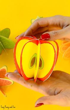 Paper Fruit Craft - Easy Peasy and Fun 3d Craft, Art N Craft, Crafty Craft, Paper Fruit, Fruit Art, Paper Crafts For Kids, Easy Crafts, Fruit Crafts, Fruit Of The Spirit