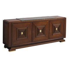 Art Deco Credenza in Oak with Marble Top and Brass Details | From a unique collection of antique and modern credenzas at https://www.1stdibs.com/furniture/storage-case-pieces/credenzas/