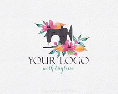 Branding Watercolor Sewing Machine Logo design