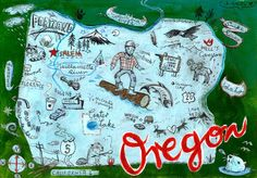 Christiane Engel,   Postcard From Oregon, #map, #painting