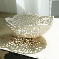 Very Small Carved Lace Bowl by Isabelle Abramson Ceramics Available Work