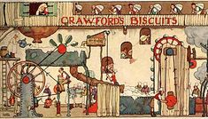 An image of a colour illustration of people in a biscuit factory operating a milling machine