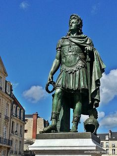 A statue of the French King Louis XIV dressed as a Roman Emperor, in Caen. Normandy