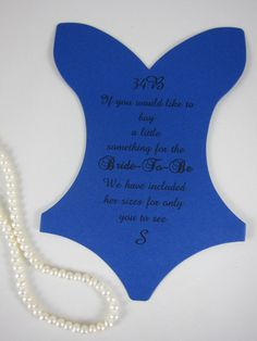 Lingerie Party, Navy Blue Corset sizing card, Bachelorette Size Insert corset card