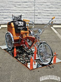 Orange lowrider trike Lowrider Bicycle, Trike Bicycle, Cruiser Bicycle, Custom Trikes, Drift Trike, Kids Ride On, Pedal Cars, Bike Art, Mini Bike