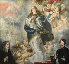 The Immaculate Conception with Two Donors, probaby 1661, Juan de Valdes Leal; the cherubs 'carry emblems associated with the Virgin, including the olive, palm, rose, iris, a mirror and lilies'; 'Much of the imagery associated with the Immaculate Conception was derived from the Old Testament Song of Songs'. (National Gallery)