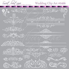 Digital Frames wedding clip art WHITE 0466 My etsy shop sweetboutique.etsy.com