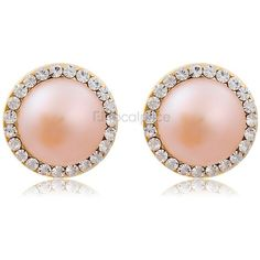 US$ 5.39 | 18K Gold Plated Alloy Crystal & Pearl Decoration Stud... ($4.66) ❤ liked on Polyvore featuring jewelry, earrings, accessories, pink, 18k earrings, pearl jewellery, pearl crystal earrings, gold plated stud earrings and crystal jewelry