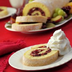 Cranberry, orange and pecan sponge cake roll ups