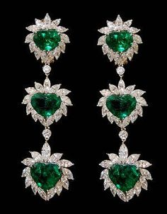 Platinum H/S Emerald and Diamond Earrings