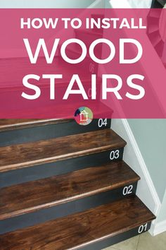 Have you ever wondered how to install wood stairs yourself? We did it and couldn't believe how easy this makeover was! Goodbye old carpet, hello gorgeous wood staircase. Beige Carpet, Diy Carpet, Modern Carpet, Wood Staircase, Staircase Design, Staircase Ideas, Staircases, Stair Design, Modern Staircase