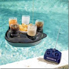 Radio controlled drink tray? I guess it would help if you don't want to get wet again.