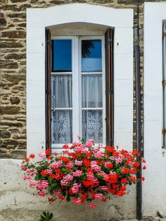 Lovely windows of Cancale, Brittany France. Read the full story on LaVieAnnRose.com #brightlightsparis