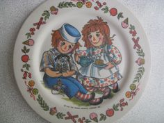 Raggedy Ann and Andy set of two plates/children's by BohoRain