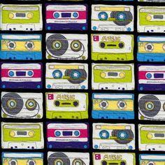 Timeless Treasures House Designer - Totally 80s - Mix Tape in Multi - This is a super cool fabric!