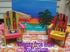 Sugar Skulls & Viva Mexico Chalk Painted Mini Beach Chairs. Follow me through Instagram for more creations!